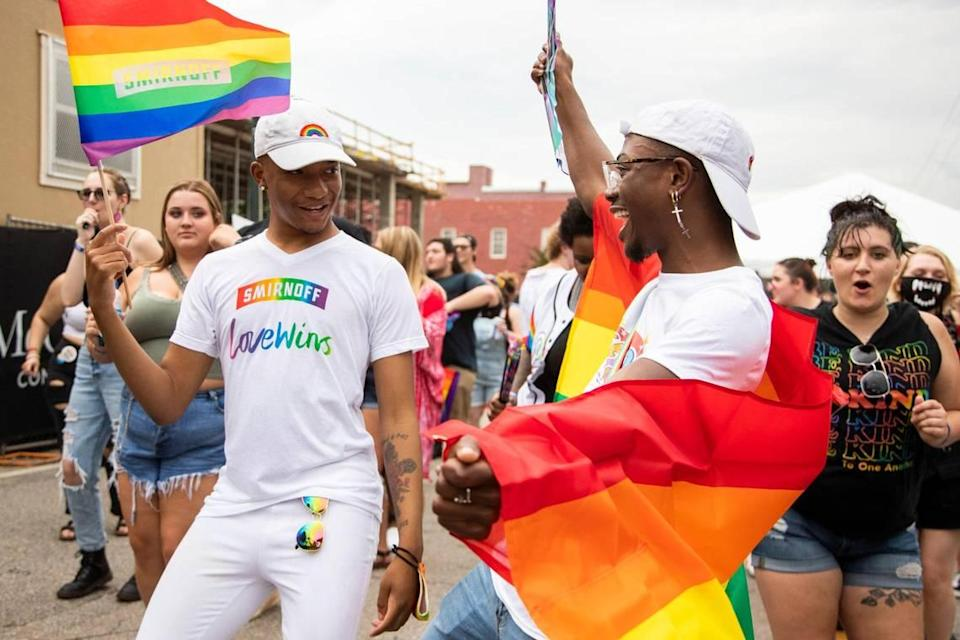 Xakwon Harris and Ben Jackson dance at OutFest in Columbia, South Carolina on Saturday, June 6, 2021. The festival took place in the Vista and hosted a drag competition.
