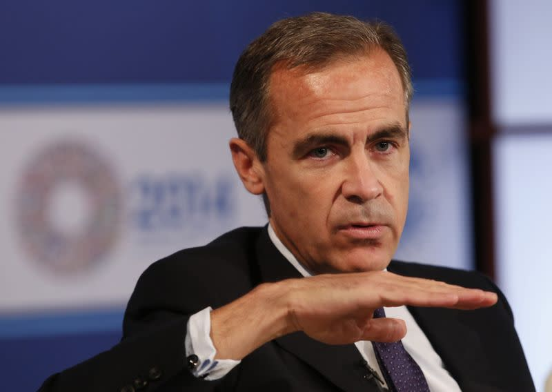 Bank of England Governor Carney participates in a panel discussion during the IMF-World Bank annual meetings in Washington