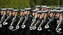 Navy band march prior to the arrival of Pope Francis at the Presidential residence in Dublin, Ireland, Saturday, Aug. 25, 2018. Pope Francis is on a two-day visit to Ireland. (AP Photo/Peter Morrison)