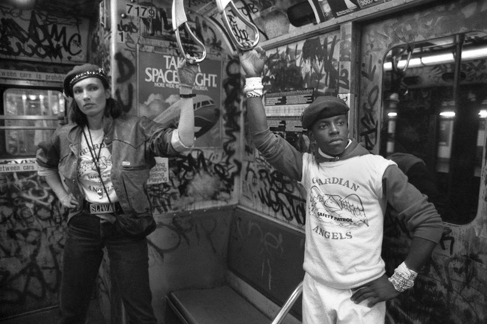 <p>Founder of the Guardian Angels, a non-profit volunteer organization of unarmed crime-prevention vigilantes, Curtis Sliwa, and his wife, Lisa Sliwa, patrol the subway.</p>