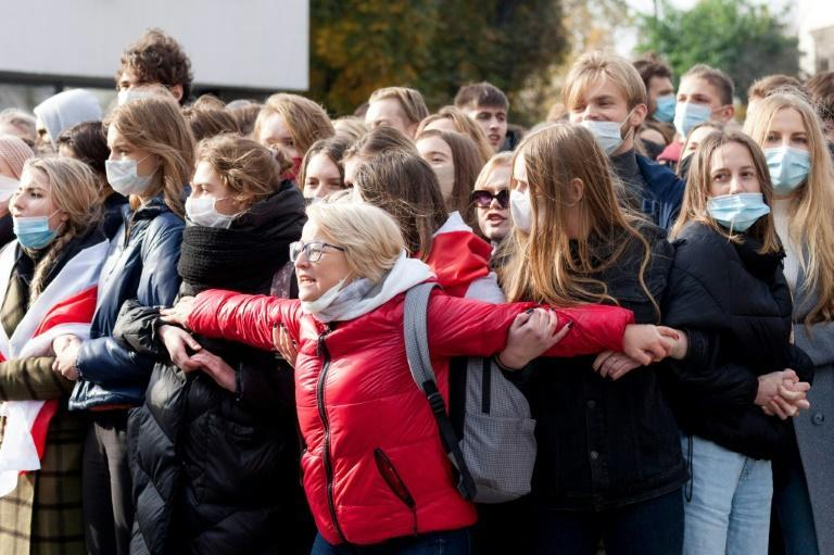 Teachers and students of Belarusian State University take part in a nationwide strike in Minsk