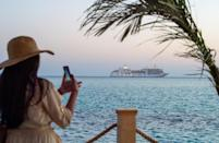 The Silver Spirit cruise ship sails off Saudi Arabia's coast, which the petro-state aspires to turn into a global tourism and investment hotspot as part of a plan to reduce reliance on oil revenue