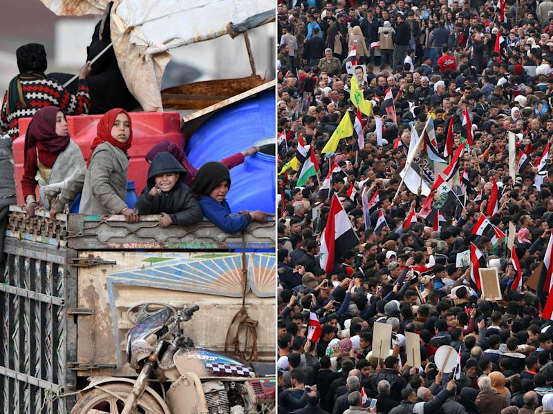 Left: Children ride in the back of a truck with furniture, mattresses, and blankets in the west of Syria's northern province of Aleppo on February 16, 2020, fleeing advancing Syrian government forces in Idlib and Aleppo provinces. Right: People gather to celebrate at the Saadallah al-Jabiri square in Aleppo after regime forces ousted rebel groups from suburbs and areas around the northern Syrian city, on February 18, 2020: AFP
