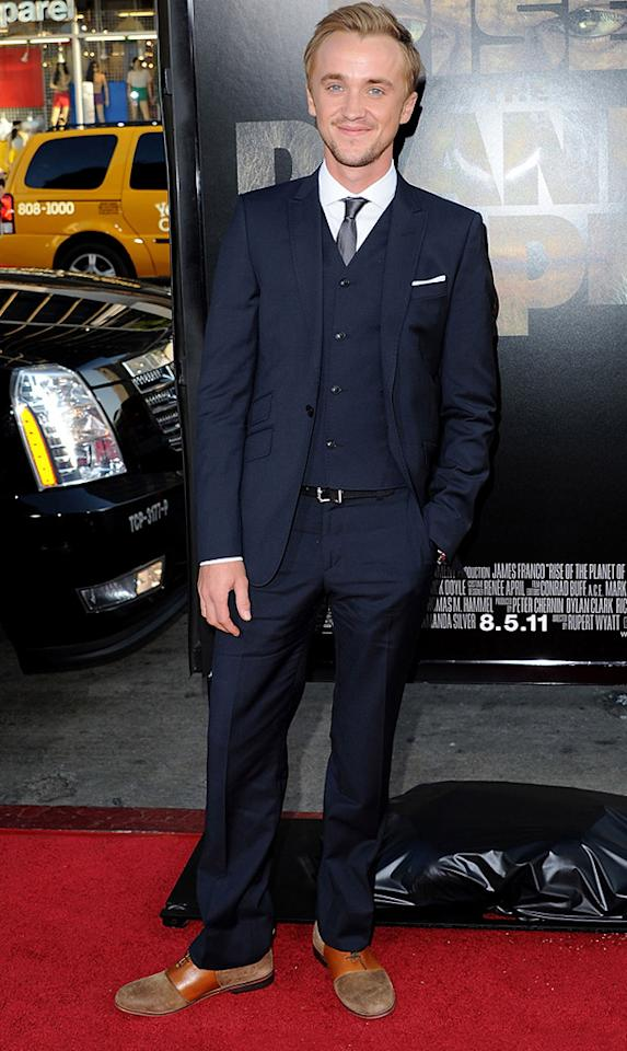 """<a href=""""http://movies.yahoo.com/movie/contributor/1800308596"""">Tom Felton</a> at the Los Angeles premiere of <a href=""""http://movies.yahoo.com/movie/1810204226/info"""">Rise of the Planet of the Apes</a> on July 28, 2011."""