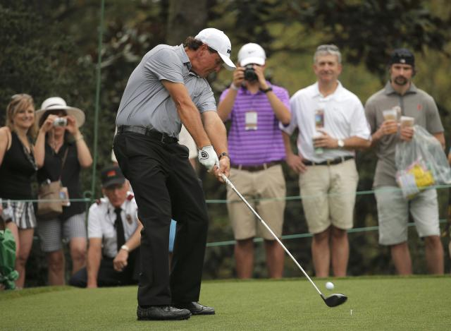 Phil Mickelson of the U.S. hits off the 15th tee during his practice round ahead of the 2015 Masters at Augusta National Golf Course in Augusta