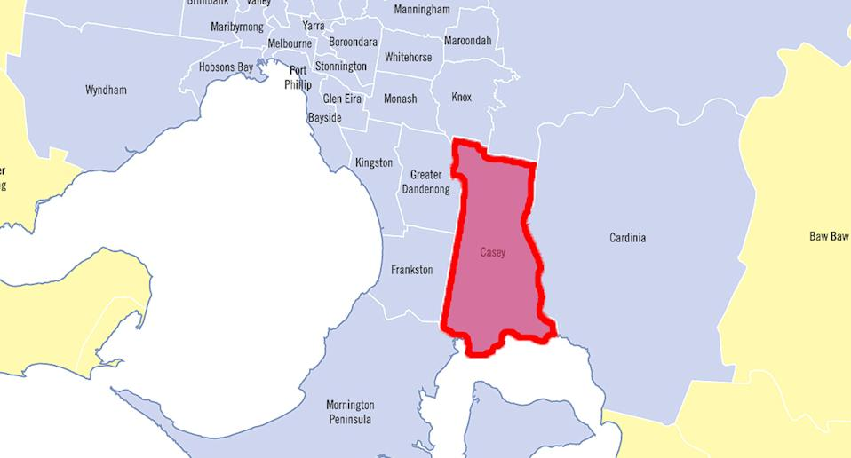 This picture shows the Casey local government area in Melbourne coloured red to show the location of the coronavirus outbreak.