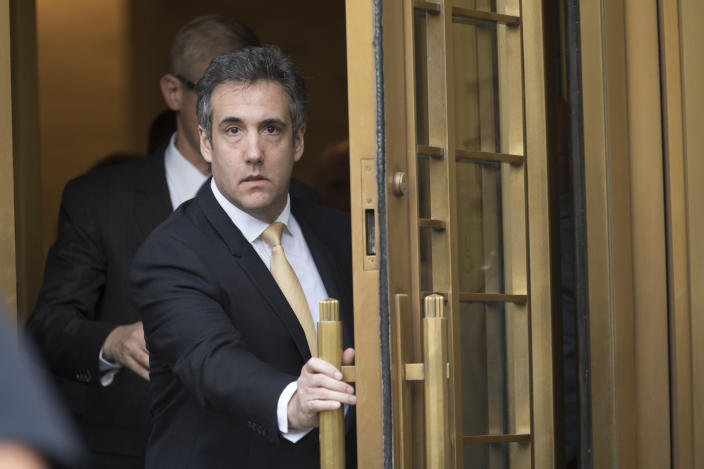 Michael Cohen leaves federal court in Manhattan on Tuesday. (Photo: Mary Altaffer/AP)
