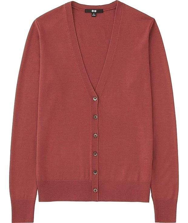 """<p>Look no further than Uniqlo for the most affordable (not to mention durable knits this season. FYI burgundy never fails to reign supreme in the autumnal colour charts. <em><a rel=""""nofollow noopener"""" href=""""https://www.uniqlo.com/uk/en/product/women-extra-fine-merino-v-neck-cardigan-400437.html?dwvar_400437_color=COL12&dwvar_400437_size=SMA001&cgid="""" target=""""_blank"""" data-ylk=""""slk:Uniqlo"""" class=""""link rapid-noclick-resp"""">Uniqlo</a>, £29.90 </em> </p>"""