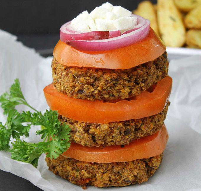 """<strong>Get the <a href=""""https://www.thehealthymaven.com/2014/03/greek-quinoa-burgers.html"""" target=""""_blank"""">Greek Quinoa Burgers</a> recipe from The Healthy Maven</strong>"""
