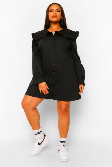 """Another dress that's too cute to sleep on. But you could probably sleep <em>in</em> it, for the professional <a href=""""https://www.glamour.com/gallery/things-to-buy-through-glamour-rewards?mbid=synd_yahoo_rss"""" rel=""""nofollow noopener"""" target=""""_blank"""" data-ylk=""""slk:nappers"""" class=""""link rapid-noclick-resp"""">nappers</a> out there. $48, Boohoo. <a href=""""https://us.boohoo.com/plus-peter-pan-collar-shirt-dress/PZZ00113-105-68.html"""" rel=""""nofollow noopener"""" target=""""_blank"""" data-ylk=""""slk:Get it now!"""" class=""""link rapid-noclick-resp"""">Get it now!</a>"""