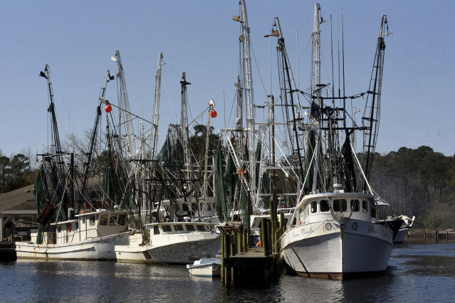 Commercial fishing boats are docked along the waterway in Sneads Ferry, N.C. Friday March 23, 2018. (Ken Blevins /The Star-News via AP)