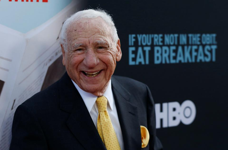 "Mel Brooks poses at a premiere of the HBO documentary ""If You're Not In the Obit, Eat Breakfast"" in Beverly Hills, California, U.S. May 17, 2017.   REUTERS/Mario Anzuoni"