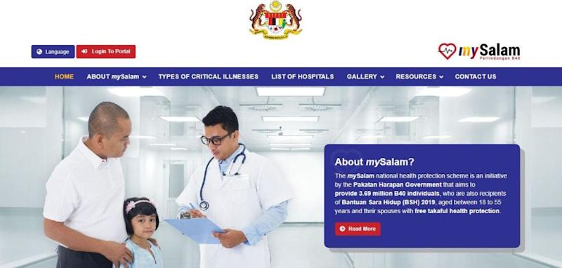 A screenshot of the MySalam health insurance website. The Finance Ministry said that the non-profit takaful scheme is offered by the government for eligible recipients from the low-income B40 group which will benefit approximately 3.8 million individuals.