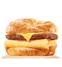 "<p>The No.1 worst item on our list comes from Burger King (similar to our <a href=""https://ca.style.yahoo.com/tagged/unhealthiestfood"" data-ylk=""slk:unhealthiest fast food burger"" class=""link rapid-noclick-resp"">unhealthiest fast food burger</a> list). This croissan'wich is piled high with double sausage, eggs, and two helpings of melted cheese on a toasted, flaky croissant — it's also piled with sodium, calories and over a day's worth of saturated fat. <br> — Calories: 726 <br> — Fat: 53 g (Saturated Fat 21 g) <br> — Carbohydrates: 33 g <br> — Sodium: 1,523 mg <br> — Sugar: 6 g <br> — Source/photo: Burger King Canada </p>"
