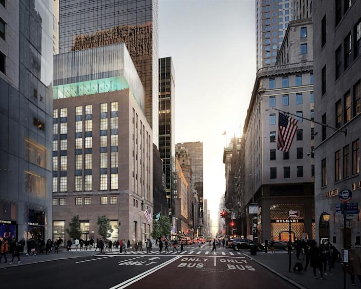 """<div class=""""caption""""> Planned for completion in spring 2022, the project will renovate the ground level of the building while creating an extension on the rooftop, among other additions. </div>"""