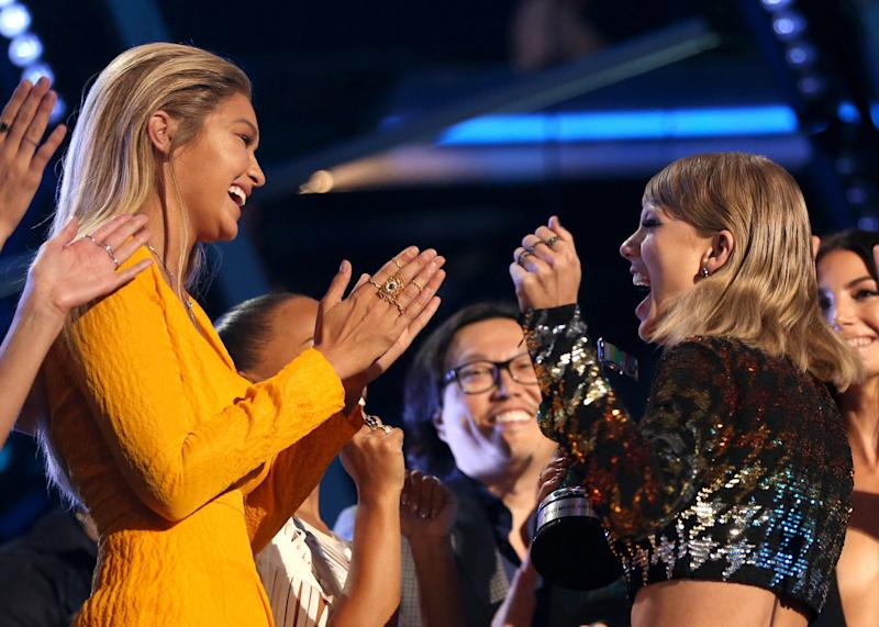 LOS ANGELES, CA - AUGUST 30: Model Gigi Hadid (L) and recording artist Taylor Swift celebrate during the 2015 MTV Video Music Awards at Microsoft Theater on August 30, 2015 in Los Angeles, California. (Photo by Christopher Polk/MTV1415/Getty Images)