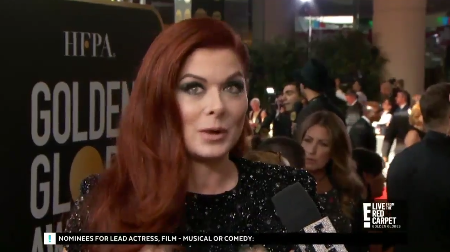 The Will and Grace actress called out the network while speaking to host Giuliana Rancic. Photo: E!
