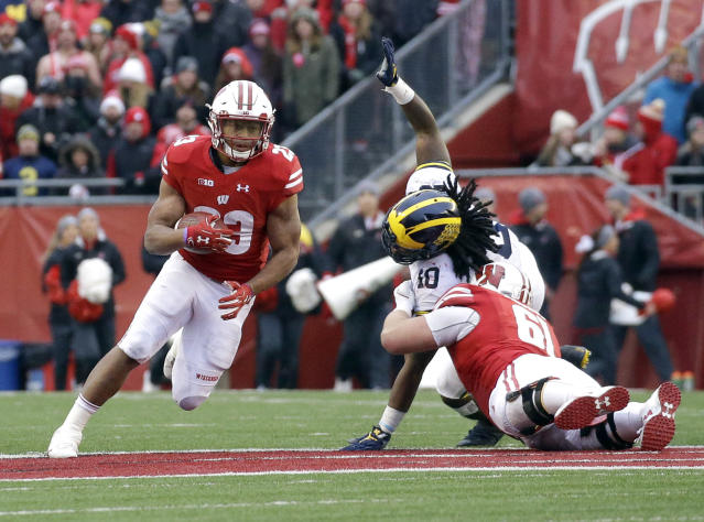 Wisconsin's Jonathan Taylor has shredded defensive lines this season. (AP)