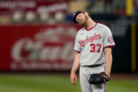 FILE - In this April 13, 2021, file photo, Washington Nationals starting pitcher Stephen Strasburg stands on the mound after giving up a two-run home run to St. Louis Cardinals' Matt Carpenter during the third inning of a baseball game in St. Louis. Strasburg will have season-ending neck surgery, Nationals manager Dave Martinez said Tuesday, July 27, 2021, ending another frustrating year for Washington's 2019 World Series hero.(AP Photo/Jeff Roberson, File)