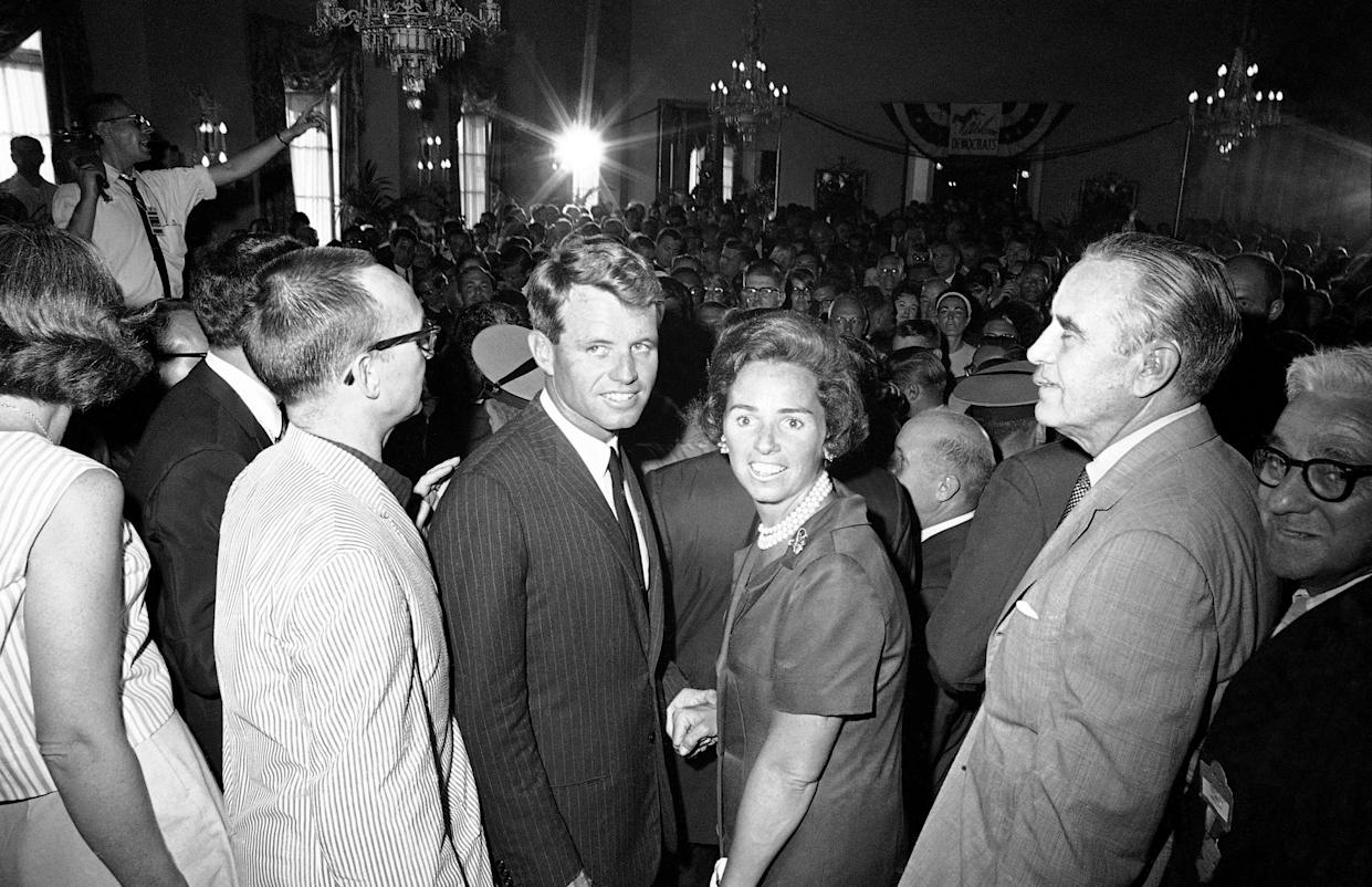 Attorney General Robert F. Kennedy, with his wife Ethel, announces he will be a candidate for the Democratic nomination for U.S. senator from New York, August 1964. (Photo: Bob Schutz/AP)