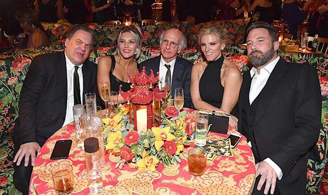 <p>Affleck and his producer girlfriend, who won an award for her work on <em>Saturday Night Live</em>, found the cranky table at HBO's post-Emmys bash, where they sat with Larry David, his <em>Curb Your Enthusiasm</em> sidekick Jeff Garlin, and sports broadcaster Charissa Thompson, a close friend of David's. (Photo: Jeff Kravitz/FilmMagic) </p>