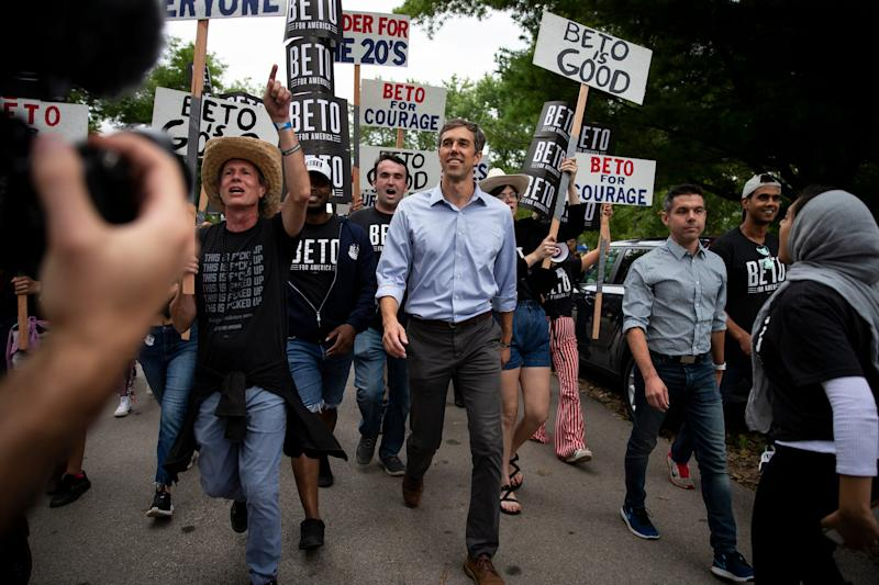 2020 Democratic presidential candidate and former Texas Representative Beto O'Rourke leads his march into the Polk County Democrats Steak Fry in Water Works Park on Saturday, Sept. 21, 2019 in Des Moines.
