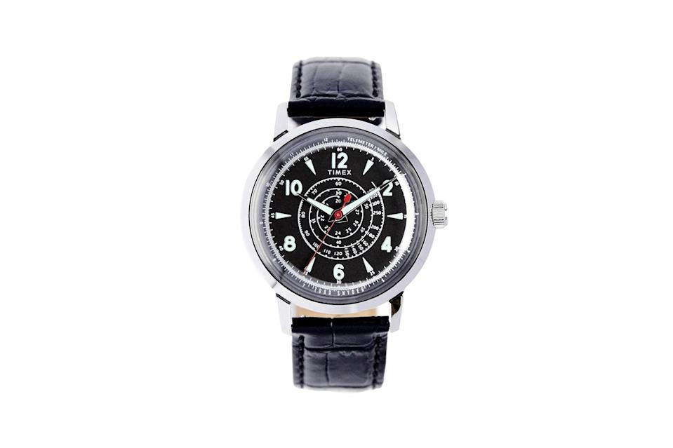 "$158, Todd Snyder. <a href=""https://www.toddsnyder.com/collections/watches/products/timex-x-todd-snyder-beekman-watch-black-black"" rel=""nofollow noopener"" target=""_blank"" data-ylk=""slk:Get it now!"" class=""link rapid-noclick-resp"">Get it now!</a>"