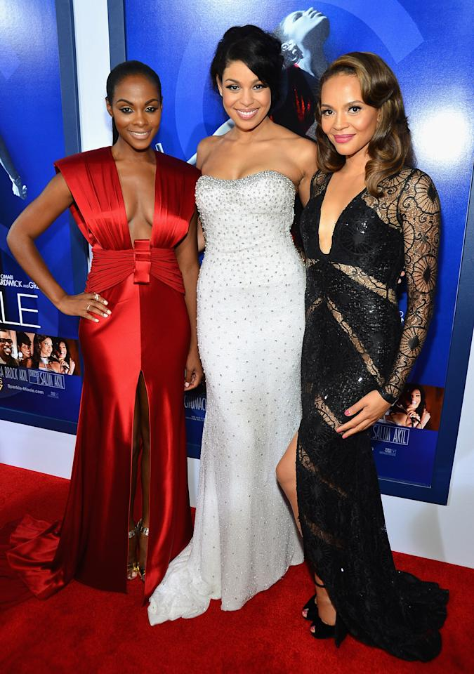 "HOLLYWOOD, CA - AUGUST 16:  (L-R) Actress Tika Sumpter, Actress/singer Jordin Sparks and actress Carmen Ejogo arrive at Tri-Star Pictures' ""Sparkle"" premiere at Grauman's Chinese Theatre on August 16, 2012 in Hollywood, California.  (Photo by Frazer Harrison/Getty Images)"