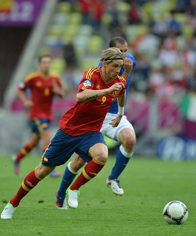 Spanish forward Fernando Torres runs for the ball during the Euro 2012 championships football match Spain vs Italy on June 10, 2012 at the Gdansk Arena. AFP PHOTO / GABRIEL BOUYSGABRIEL BOUYS/AFP/GettyImages