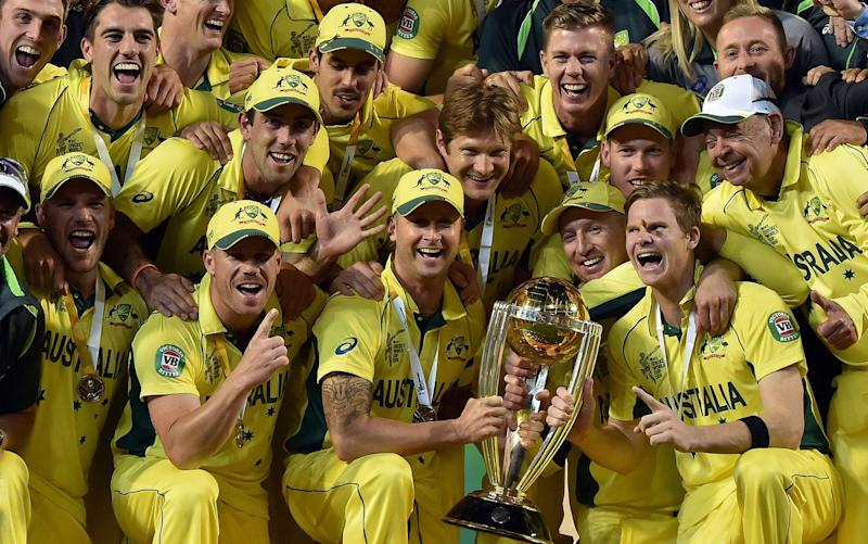 Australia celebrating 2015 Cricket World Cup victory - AFP