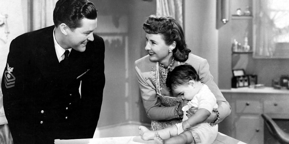 "<p>If the premise—a woman pretending to be the perfect housewife is put to the test over the course of one Christmas—sounds a bit dated, that's because it is. Peter Godfrey's classic starring Barbara Stanwyck was made in 1945. But throw in a romance and babies, and you'll forget about the word ""housewife."" <a class=""link rapid-noclick-resp"" href=""https://www.amazon.com/dp/B00316WYGI?tag=syn-yahoo-20&ascsubtag=%5Bartid%7C10056.g.13152053%5Bsrc%7Cyahoo-us"" rel=""nofollow noopener"" target=""_blank"" data-ylk=""slk:Watch Now"">Watch Now</a></p>"