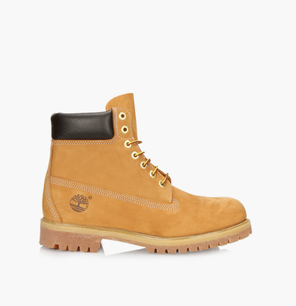 beige Timberland 6-Inch Premium Waterproof Boots with heel and black leather detail