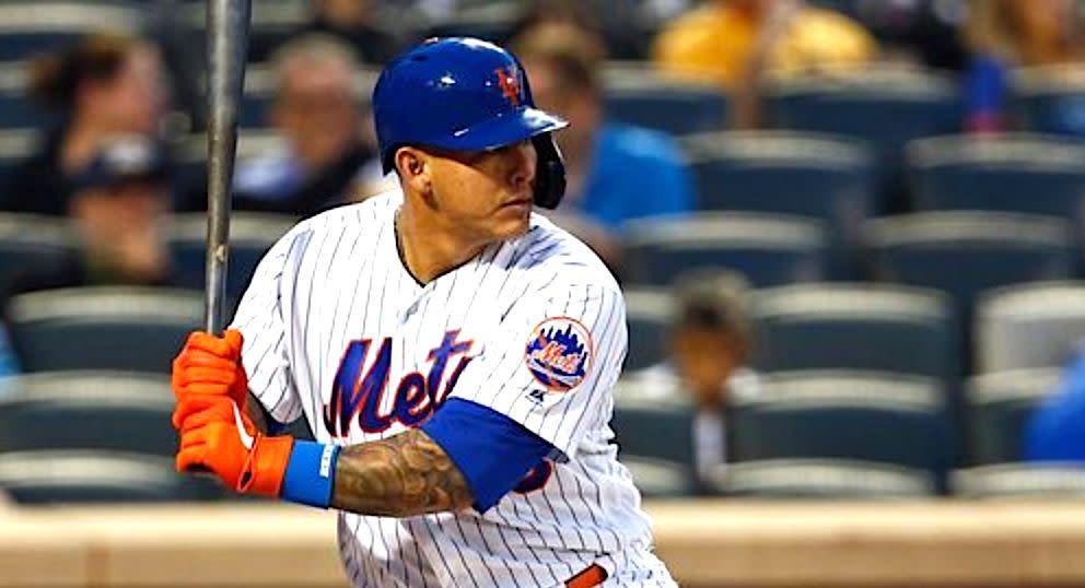 Wilson Ramos, pictured hitting in a previous Mets home game, got quite a surprise on Thursday night during the game. (Photo: Adam Hunger via Getty Images)