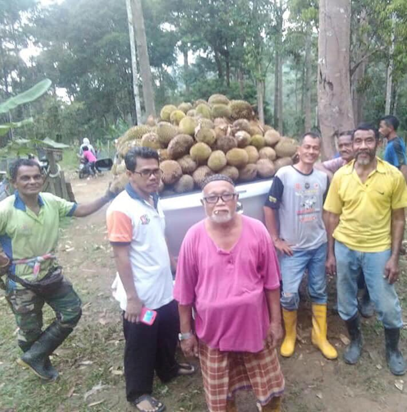 The Kampung Sempeneh villagers collected durians from their village and shared with 10,000 people. — Picture via Twitter