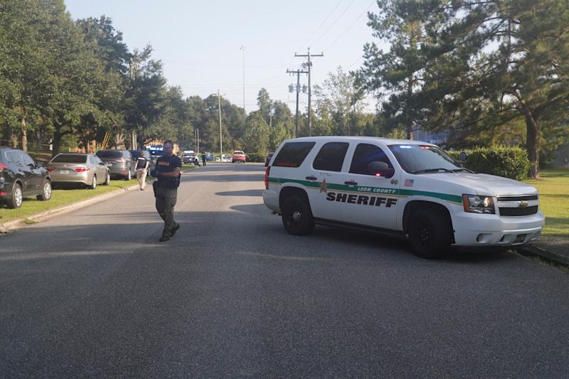 Police arrive on the scene of a stabbing that injured multiple victims in Tallahassee, Florida, on Sept. 11.