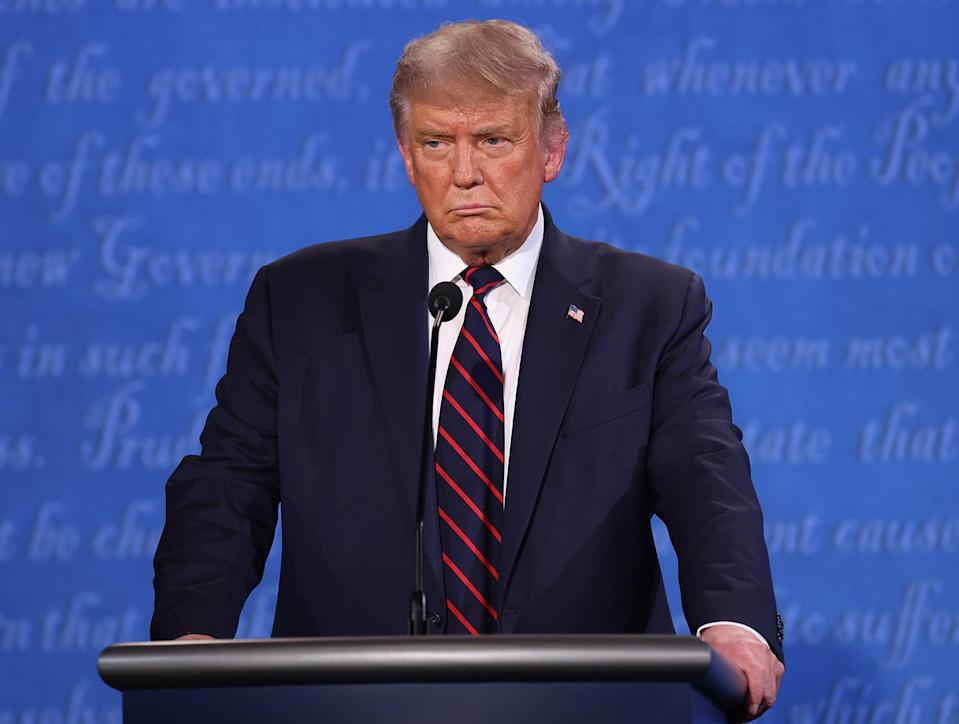 "<p>When asked, Trump doesn't denounce white supremacy during the Sept. 29, 2020, presidential debate, instead <a href=""https://people.com/politics/donald-trump-refuses-to-condemn-white-supremacy-during-presidential-debate/"" rel=""nofollow noopener"" target=""_blank"" data-ylk=""slk:telling far-right group the Proud Boys"" class=""link rapid-noclick-resp"">telling far-right group the Proud Boys</a> to ""stand back and stand by.""</p> <p>Throughout his time in office, many noted the president's markedly different responses to protests led by white people versus people of color. In May 2020, for example, <a href=""https://people.com/politics/donald-trump-threatens-military-intervention-in-george-floyd-riots/"" rel=""nofollow noopener"" target=""_blank"" data-ylk=""slk:he tweeted"" class=""link rapid-noclick-resp"">he tweeted</a>, ""When the looting starts, the shooting starts,"" about protestors marching in the streets of Minneapolis following the death of unarmed Black man George Floyd at the hands of police; following the violent Jan. 6, 2021, riot at the U.S. Capitol, <a href=""https://people.com/politics/trump-says-we-love-you-to-rioters-continues-to-falsely-claim-stolen-election/"" rel=""nofollow noopener"" target=""_blank"" data-ylk=""slk:he told the predominantly white crowd"" class=""link rapid-noclick-resp"">he told the predominantly white crowd</a> ""you are special"" and ""we love you"" in a recorded message asking them to go home. </p>"