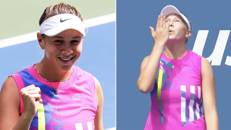 Amanda Anisimova (pictured left) celebrating with a fist-pump and (pictured right) blowing a kiss to her father.