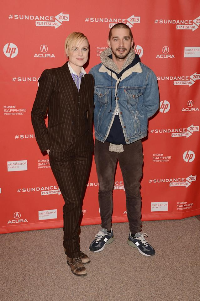 "PARK CITY, UT - JANUARY 21:  Actors Evan Rachel Wood and Shia LeBouf attend ""The Necessary Death Of Charlie Countryman"" premiere at Eccles Center Theatre during the 2013 Sundance Film Festival on January 21, 2013 in Park City, Utah.  (Photo by Jason Merritt/Getty Images)"