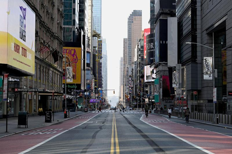 Pictured is an abandoned 42nd Street near Times Square.