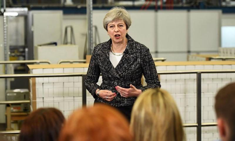 Theresa May speaking at a factory in Maidenhead