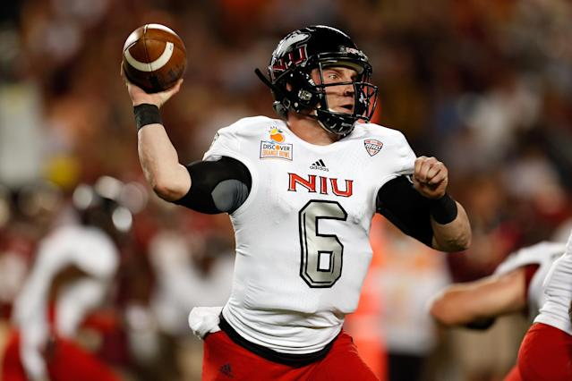 MIAMI GARDENS, FL - JANUARY 01: Jordan Lynch #6 of the Northern Illinois Huskies throws a pass in the first half against the Florida State Seminoles during the Discover Orange Bowl at Sun Life Stadium on January 1, 2013 in Miami Gardens, Florida. (Photo by Chris Trotman/Getty Images)