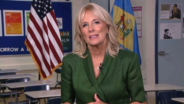 PHOTO: Dr. Jill Biden, wife of Democratic presidential candidate Joe Biden, speaks from Brandywine High School where she taught English from 1991 to 1993, during the virtual 2020 Democratic National Convention, Aug. 18, 2020. (Democratic National Convention)