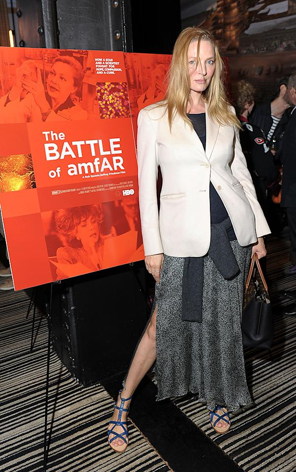 "Uma Thurman attends HBO's ""The Battle of amfAR"" premiere party at Tribeca Film Festival on April 24, 2013 in New York City."