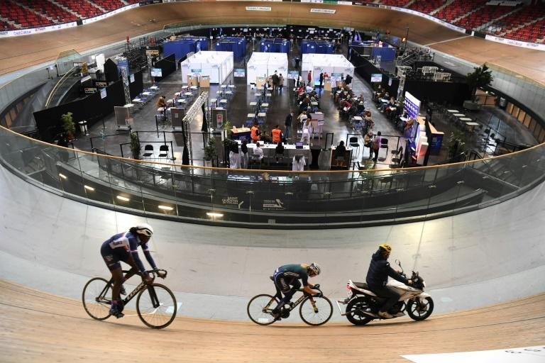 A velodrome outside Paris has been turned into a vaccination centre