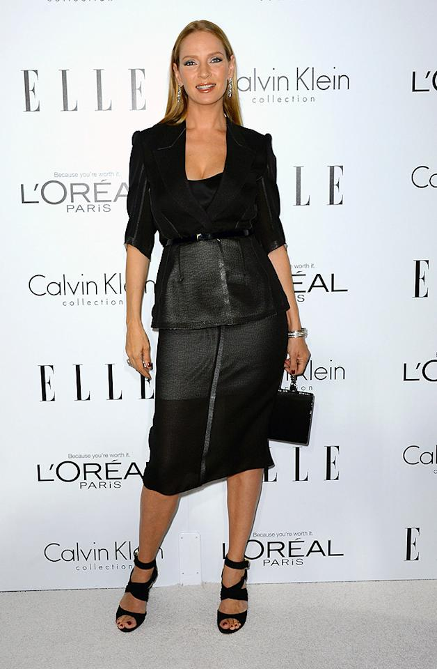BEVERLY HILLS, CA - OCTOBER 15:  Actress Uma Thurman arrives at ELLE's 19th Annual Women In Hollywood Celebration at the Four Seasons Hotel on October 15, 2012 in Beverly Hills, California.  (Photo by Frazer Harrison/Getty Images)