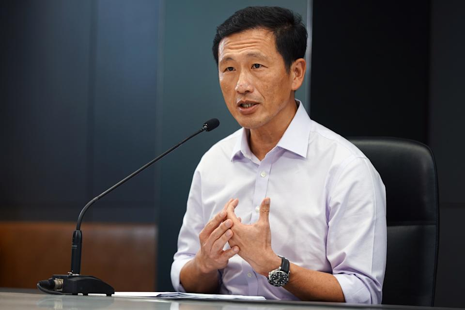 Health Minister Ong Ye Kung speaks to reporters during a COVID-19 doorstop interview on 17 September, 2021. (PHOTO: MCI)