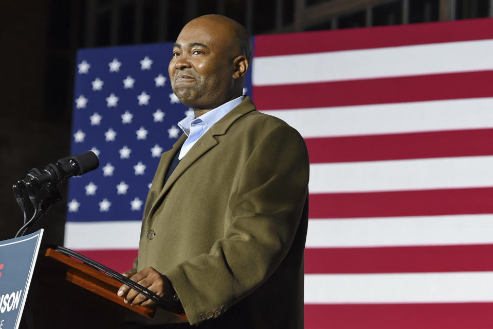 FILE - In this Nov. 3, 2020, file photo Democratic Senate candidate Jaime Harrison speaks at a watch party in Columbia, S.C., after losing the Senate race. Harrison, the longtime Democratic Party official, is President-elect Joe Biden's choice to lead the national party, according to multiple party officials. (AP Photo/Richard Shiro, File)
