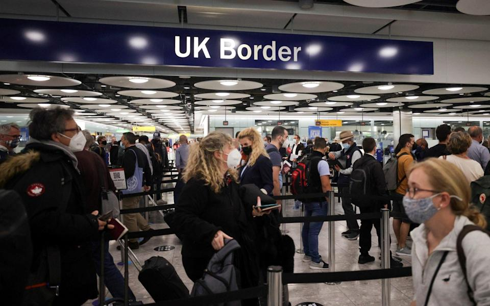 There have been concerns about passengers queuing at the border creating a Covid risk - Hannah Mckay/Reuters