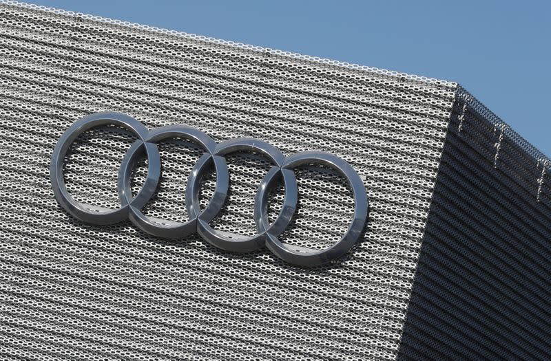 FILE PHOTO: An Audi logo is seen at the Audi Center Brussels car dealer, amid the coronavirus disease (COVID-19) outbreak, in Brussels