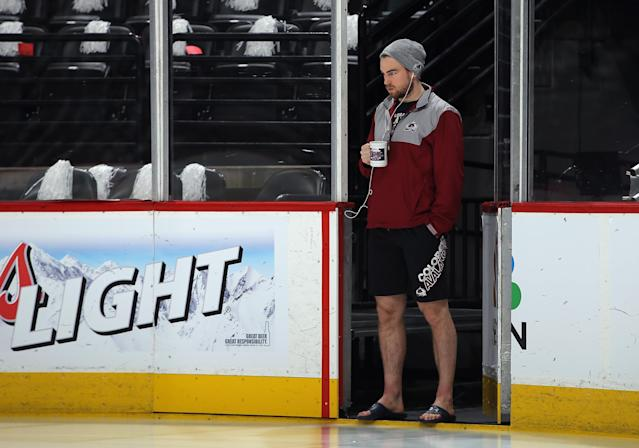 DENVER, CO - APRIL 19: Ryan O'Reilly #90 of the Colorado Avalanche checks out the ice prior to facing the Minnesota Wild in Game Two of the First Round of the 2014 NHL Stanley Cup Playoffs at Pepsi Center on April 19, 2014 in Denver, Colorado. (Photo by Doug Pensinger/Getty Images)
